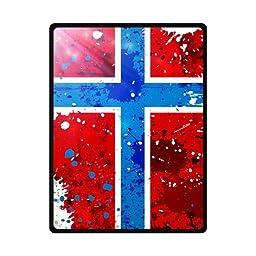 Grunge Norway Flag With Stains Custom Fleece Blanket 58\