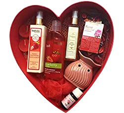 BodyHerbals Luxury Bath and Body Spa Hamper (Strawberry Shower Gel With Skin Conditioners 200ml, Strawberry Natural Moisturising Body Lotion, Hydrating Skin Booster 200 ml, Calming, Rose Geranium Cold Pressed Body Massage Oil 100 ml, Aroma Diffuser, Rose PotPourri, Rose Diffuser Oil, Bath Puff, 2- T Lights) Beauty, Skin Care, Spa set