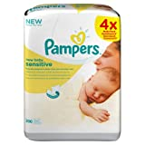 Pampers Perfume-Free Sensitive New Baby Wipes - (Pack of 4) (200 Wipes)