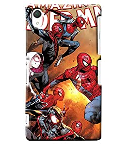 Blue Throat Spiderman Pattern Printed Designer Back Cover/ Case For Sony Xperia Z2