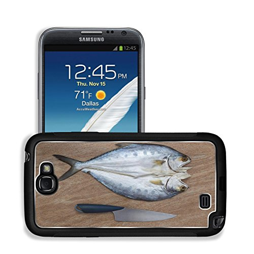 Luxlady Premium Samsung Galaxy Note 2 Aluminum Backplate Bumper Snap Case IMAGE ID: 42103137 Fresh fish cut on wooden background ready for cooking with a knife top view 1 (Samsung Omega Lcd Screen compare prices)