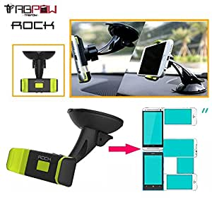 Car Mount Phone Holder, TabPow Green ROCK Dashboard Windshield Car Mount 360 Degrees Rotating Cell Phone Holder [Strong Suction Cup] For Apple iPhone 6 Plus, iPhone 6/5/5s/5c, iPod Nano 7th Gen, Galaxy S6 S5 S4 S3, Galaxy Not