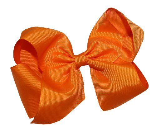 Webb Direct 2U Girls Xl Grosgrain Wrapped Bow French Clip Orange (2092Fc) front-1030861