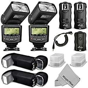 Altura Photo E-TTL Flash Kit for CANON DSLR Rebel T6i, T6s, T5i, T4i, T3i, T2i, T1i, T5, T3, XT, XSi, XSi, EOS 70D, 60D, SL1- Includes: 2 Altura Photo Speedlite Flashes (AP-C1001) + Wireless Flash Trigger with Remote Control Function (1 Transmitter, 2 Receivers) + Cable-C Cord + 2 Protective Pouches + 2 Hard Flash Diffusers + MagicFiber Microfiber Lens Cleaning Cloth