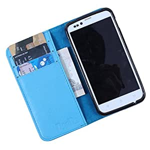 Dooda Genuine Leather Wallet Flip Case For Lava Xolo Q1010 (SKY BLUE)