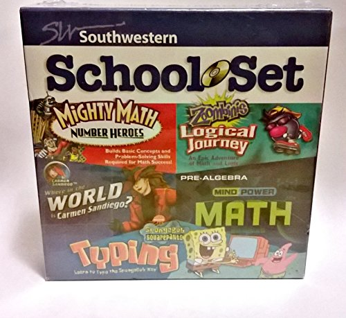 School Set Might Math, Zoombinis Logical Journey, Where in the World Is Carmen Sandiego, Pre-algebra and Spongebob Squarepants Typing - 1