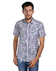 Oxemberg Men's Printed Casual 100% Cotton Blue Shirt