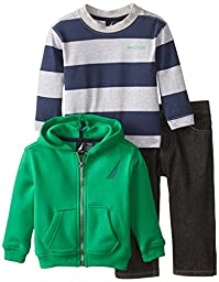 Nautica Baby Boys\' 3 Piece Set Fleece Long Sleeve Tee Denim Pant, Spartan, 12 Months
