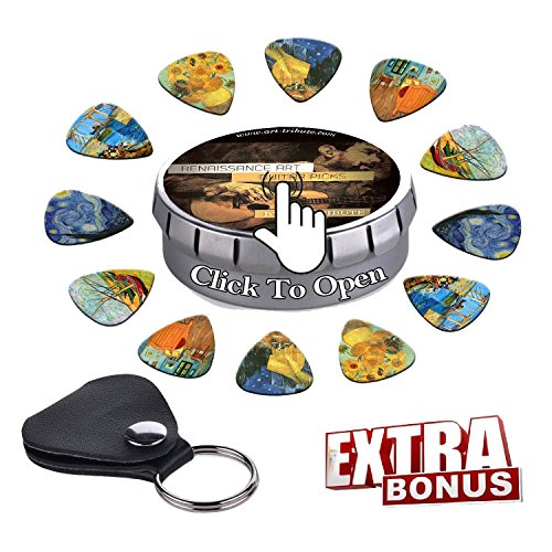 Vincent Van Gogh Guitar Picks Premium Gift Set- Celluloid Medium 12 Pack W/ Leather Keychain Pick Holder & Designed Tin Box Best Guitarist Stocking Stuffer & Original Christmas Gift for Guitar Lover.