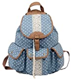 Multi-function Practical large capacity Leisure outdoor Canvas Polka Dot Rucksack Backpack campus Tote Handbag Satchel Campus computer travel Book bag Schoolbag for teen girls / college student (sky-blue)