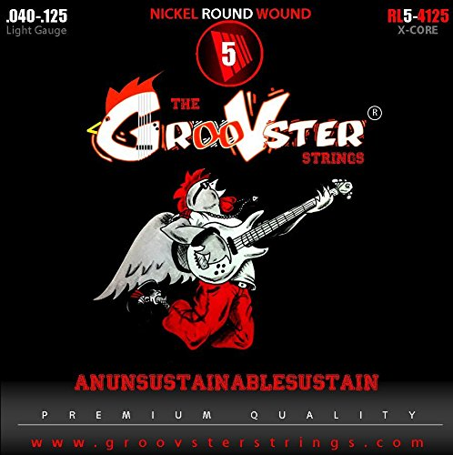 Electric Bass Guitar Strings Groovster -Nickel Round Wound-Set Of 5-.040-.060-.080-.100-.125