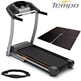Horizon Tempo T904 Treadmill Motorised Folding Premier Package - Wireless Chest Strap and Gym Floor Matting Included