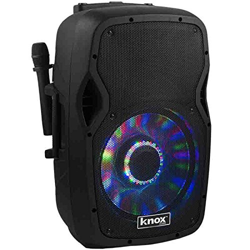 knox 100 watt 12 rolling rechargeable bluetooth active pa speaker system with party lights. Black Bedroom Furniture Sets. Home Design Ideas