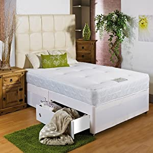 Hf4You 3Ft 6  Large Single Memory Foam Divan Bed Sprung Memory Foam Mattress   2 Drawers   Same Side   Large 30  H/B As Pictured       review and more information