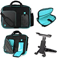 Black Aqua Blue VG Pindar Edition Messenger Bag Carrying Case for Samsung Series 7 XE700T1A 11.6 inch Slate / Business Slate Tablet + Universal Headrest Mount from VangoddyTM