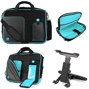 Black Aqua Blue VG Pindar Edition Messenger Bag Carrying Case for Samsung Series 7 XE700T1A 11.6 inch Slate / Business Slate Tablet + Universal Headrest Mount from VangoddyTM