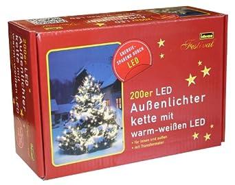Idena 8325066 Led- Lichterkette 200-er außen warm weiss