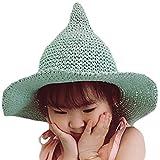 LOL2 キッズ 子供 とんがり 麦わら 帽子 ハット UV対策 日よけ カラフル (01グリーン)