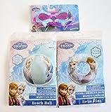 Bundle 3 Disney Frozen Water Pool Swim Toy Set: Goggles, Beach Ball, Swim Ring