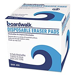 BOARDWALK 400BX Disposable Eraser Pads, 10/Box