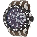Stainless Steel Reserve Diver Chronograph Swiss Quartz Brown Dial Strap