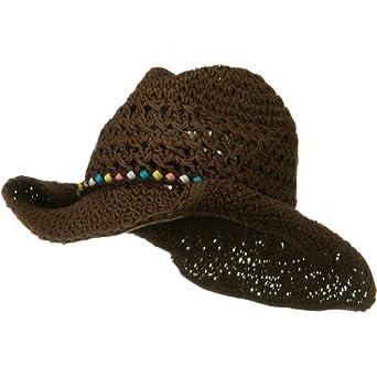 Ladies Crochet Cowboy Hat - Brown
