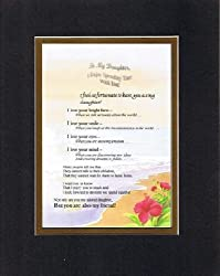 Touching and Heartfelt Poem for Daughters - To My Daughter, I Enjoy Spending Time with You Poem on 11 x 14 Double Beveled Matting