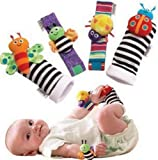 Makarine 4 x Baby Infant Soft Toy Wrist Rattles Hands Foots finders Developmental (Color Random)