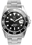 [HYAKUICHI 101] ダイバーズウォッチ 日付表示 200m防水 逆回転防止ベゼル 腕時計 メタルバンド ブラック メンズ
