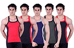 Zimfit Superb Gym Vests - Pack of 5 (RED_BLK_BLU_GRN_BLK_95)