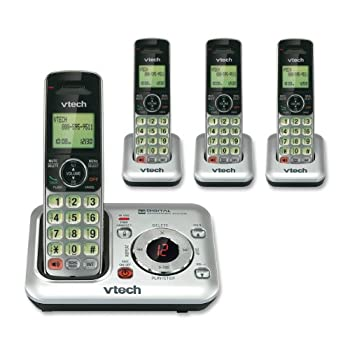 VTech CS6429-4 DECT 6.0 Cordless Phone, Silver/Black, 4 Handsets
