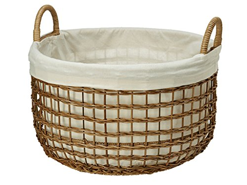KOUBOO Open Weaver Wicker Basket with Liner, Large - 1
