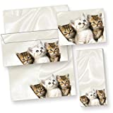 Briefpapier Set Katzen (25 Sets inkl. Kuverts) für geschmackvolle Briefe für Katzenliebhaber. Geschenkidee. JETZT NEU: inklusive 3 x 4 Bildpostkarten + 2 Schreibblöcke, in Präsentmappe