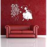 Hoopoe Decor Beautiful Girl With Birds And Flowers Wall Stickers And Decals - White
