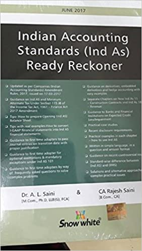 Indian Accounting Standards (Ind AS) Ready Reckoner Hardcover – 2017