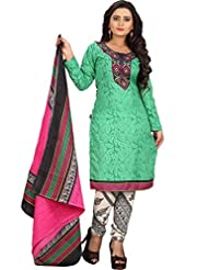 Sonal Trendz Green Color Polycotton Printed Dress Material.Party Wear Festive Wear. - B019J24K50