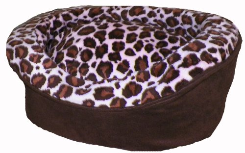 Elegant Pampered Pets Oval Pet Bed Large Brown Suede with Pink Brown Animal Print