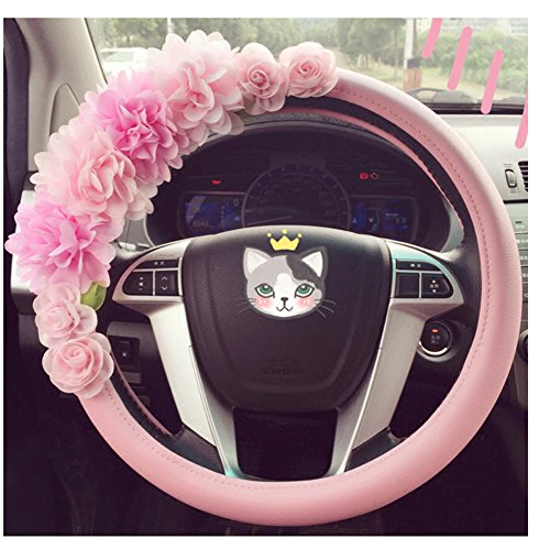 Advanced Pink Leather Cute Flower Car Steering Wheel Cover Wrap Car Interior Trim (Steering Wheel Car Alarm compare prices)