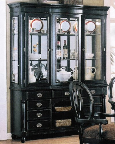 Cheap China Cabinet Buffet Hutch Black Finish (VF_AM6984)