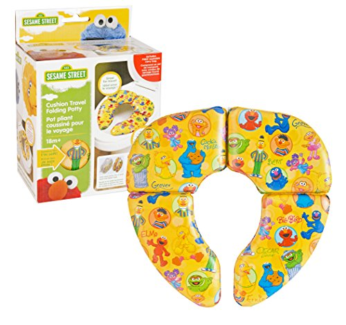 Sesame Street Cushioned Folding Potty Seat - For Standard Toilets - For Regular Home or Travel Use - 18 Plus Months - Yellow