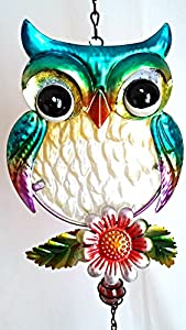 Owl Wind Chime -Metal Wall Art - Metallic Coloured Metal Wall Hanging/Decoration by Hugos Destiny