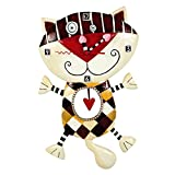 Allen designs Orologio da parete a pendolo gatto e cuore