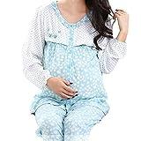 (マーシェル) Marshel マタニティ パジャマ ルームウェア 授乳口付き コットン 服を着たまま 簡単授乳 お洒落 妊婦 ブルー L