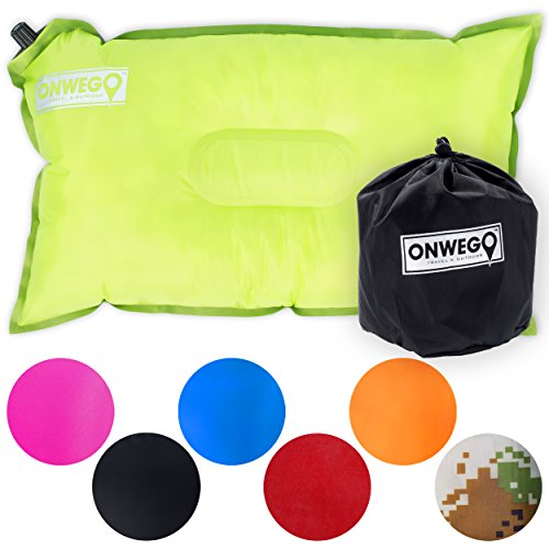 Camping Pillow / Inflatable Air Pillow-- 20in x 12in, 10.5oz, Self Inflating, Compressible-- Best for Outdoor Trips, Backpacking, Hiking, Beach, Travel, Motorcycle, Car -- By ONWEGO (Rest Upright Pillow compare prices)