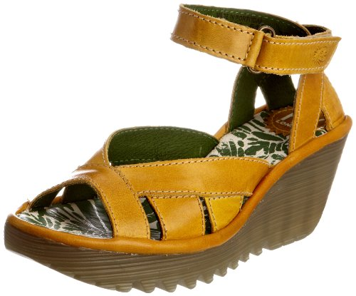 Fly London Women's Yossa Leather Mustard Wedge Heels P500277001 5 UK