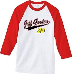 NASCAR Jeff Gordon #24 Sports Tech White Raglan T-Shirt by Checkered Flag