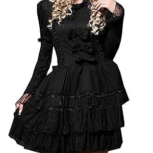Patiss Women's Punk Black Bows Long Sleeves Lolita Dress