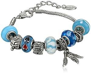 """Charmed Feelings Light Blue Murano Style Glass Beads and Charm Bracelet, 7.25"""" + 1.5"""" Extender"""