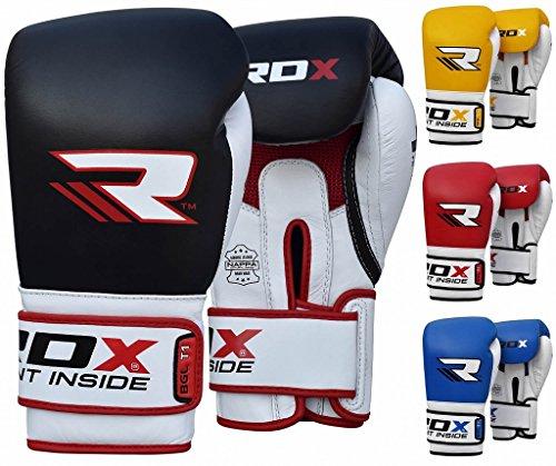 RDX Rindsleder Gel Pro T1 Boxhandschuhe, Schwarz, 12 oz