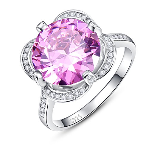 Merthus 925 Sterling Silver 7.75 cttw Natural Pink Topaz Ring